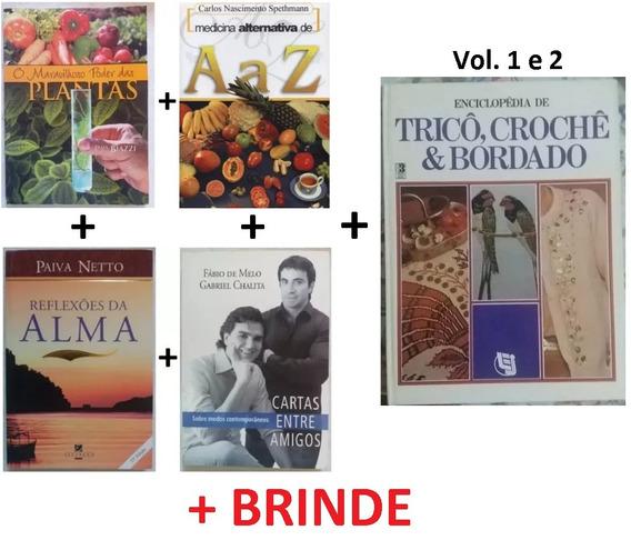 5 Livros (medicina Alternativa, Espiritual E Tricô) + Brinde