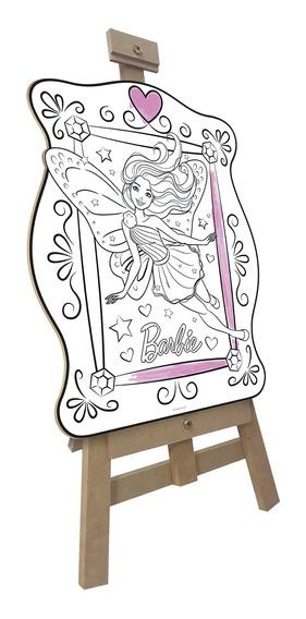 Kit Quadros De Pintura Infantil Fun Barbie 15 Peças Cavalete