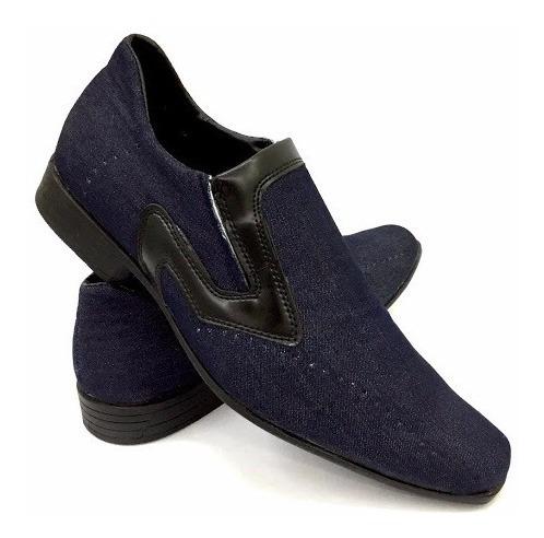 Sapato Jeans Social Casual Estilo Alongado Masculino Ref.187