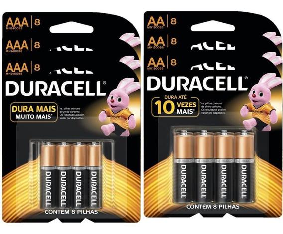 Kit Duracell Duralock Pilha Alcalina 24 Aaa + 24 Aa