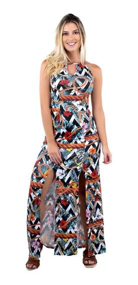 Vestido Longo Estampado Fenda Feminino Alça Moda Festa 341