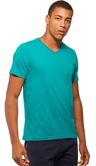 Camiseta Básica Gola V Verde - Basicamente By Malwee