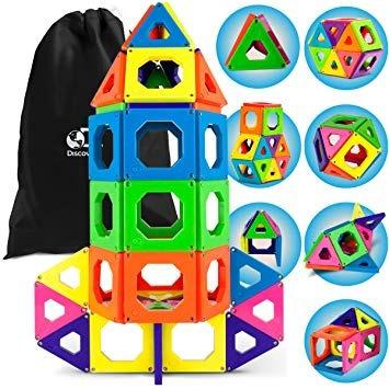Discovery Kids 50 Pieza Magnética De Construcción Azulejos C