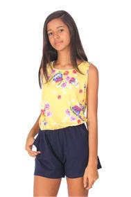 Macaquinho Feminino, Amarelo E Azul Marinho Estampado