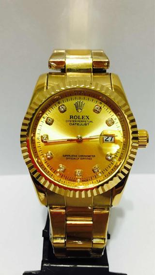 Relógio Date Just Ouro Perpetual Com 2 Baterias De Brinde!!!