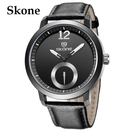 Relógio Preto Masculino Pulso Luxo Quartzo Skone 5015 Barato