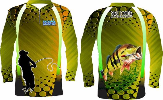 Camisa De Pesca Protecão Uv +nome Gratis Tucunare