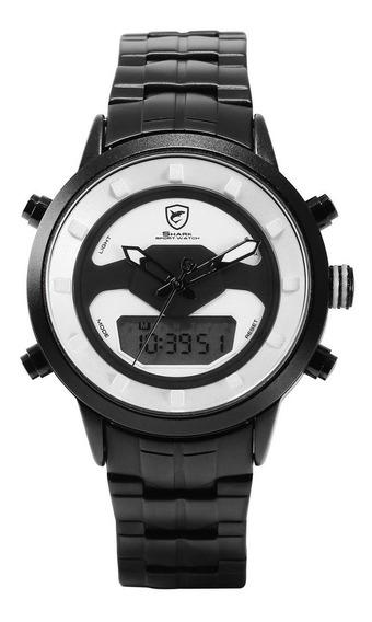 Black Shell Volante Aço Strap Relógio De Quartzo Simples Rel