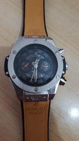 Relógio Puro Luxo Caixa Aço Prata E Pulseira Marrom - Pesado