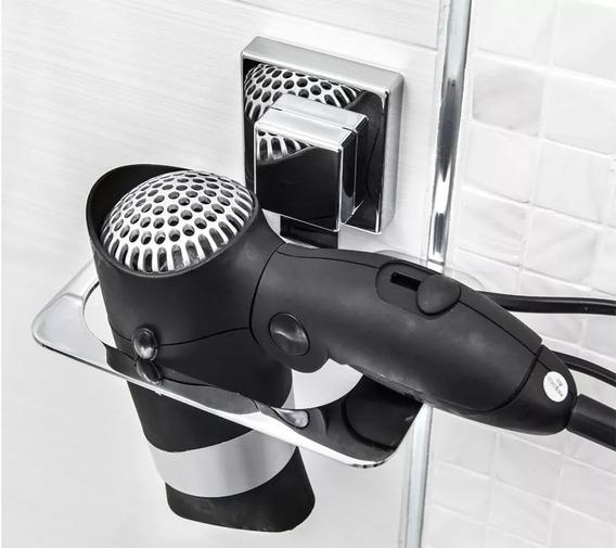 Suporte Para Secador De Cabelo Banheiro Ventosa Não Fura