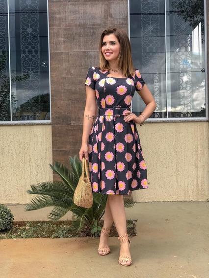 Vestido Midi Com Pregas E Cinto Moda Evangélica Cristã
