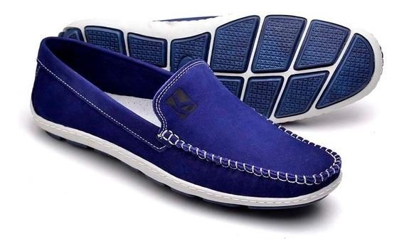 Sapato Mocassim Em Couro Masculino Dockside Azul Bic Macio