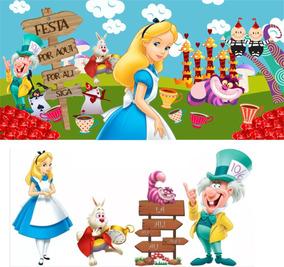 Kit Display Alice País Maravilhas 4 Peças + Painel. Ref030