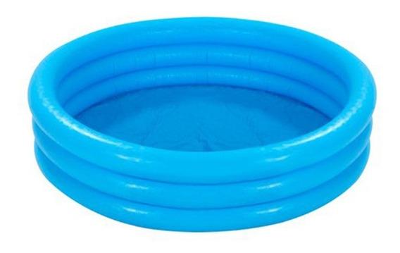 Alberca Para Niños De 3 Aros Crystal Blue Mediana Azul Intex