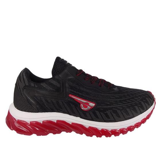 Tênis Masculino Glk Preto/vermelho Caminhada 010697