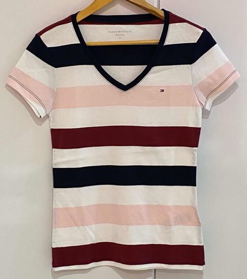 Blusa Camiseta Listrada Tommy Hilfiger Original Feminina