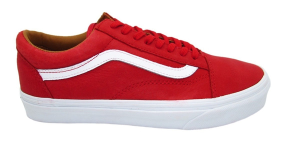 Tenis Vans Old Skool Vn0a38g1mrv Premium Leather Red Piel