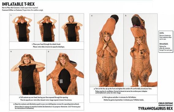 Disfraz Jurassic World T-rex Inflatable Niños *envio Gratis*