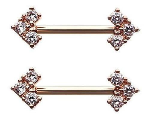 Imagen 1 de 2 de Buho Perforado Cz Piercing Para Pezon, Diseño De Flecha De