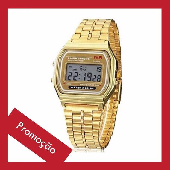 Relógio Casio Retrô Vintage Wr Dourado Unissex