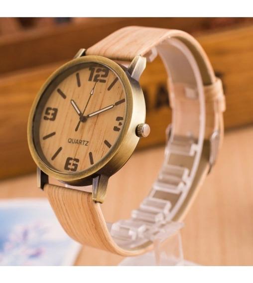 Lote 10 Reloj Moda Hombre Piel Madera Bambu Joven Mayoreo