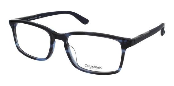 Armazón Oftálmico Calvin Klein Color Azul Horn Caballero