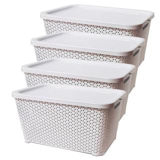 Canastos Organizador Plastico Apilable Ratan Mediano Tapa X4 Colombraro