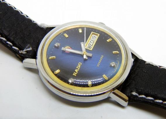 Reloj Rado Voyager Carátula Azul Y Caja De Acero Day/date