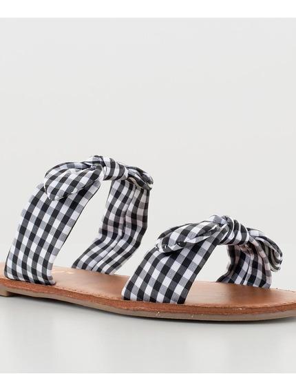 Sandalias Negras De Cuadros Doble Correa