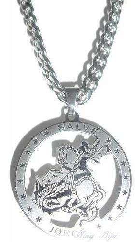 Medalha São Jorge Grande + Cordão Grumet Aço Cirúrgico Inox