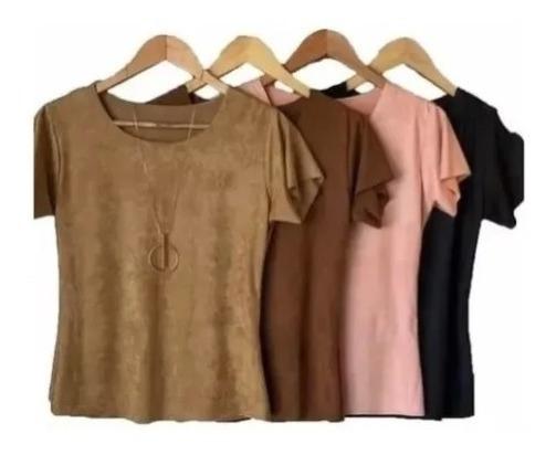 Kit 8 Blusinhas T-shirts Sued Lançamento Outono-inverno