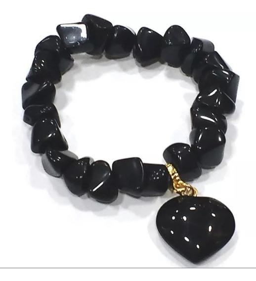 Pulseira De Obsidiana Negra Pedra Natural Com Pingente