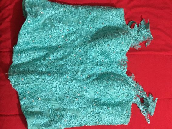Vestido Corto Xv Años Color Menta Faldilla Tull Glitter