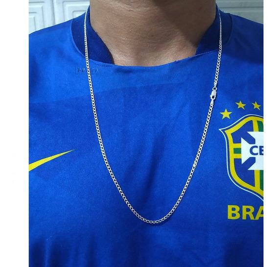 Corrente De Prata 925 Masculina Fina 70cm Grumet Correntinha