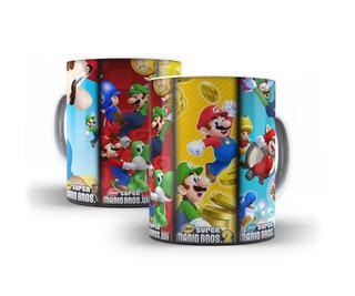 Caneca Super Mário Bros Fases Jogo Nintendo Mega Oferta!!!