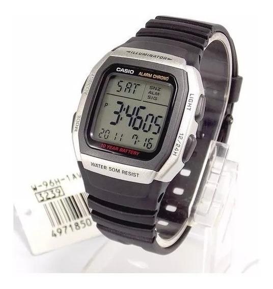 Relógio Casio Digital W-96h 1av Bateria 10anos 50m Original