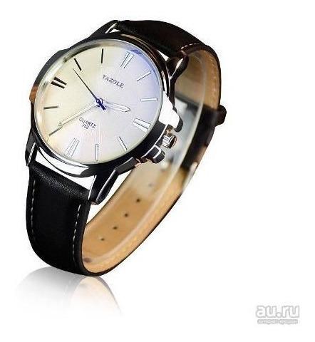 Relógio Masculino Yazole Quartz 332 Branco Couro Preto