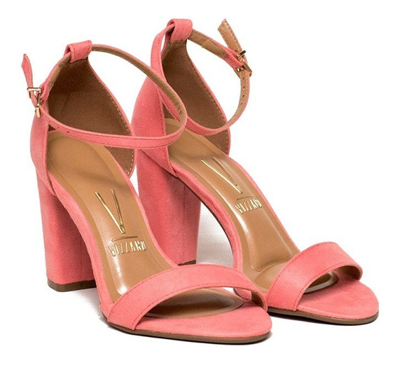 Sandalias Gamuza Mujer Taco Alto Pulsera Zapatos Vizzano