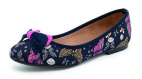 Zapato Casual De Dama Azul Marino Diseño De Flores