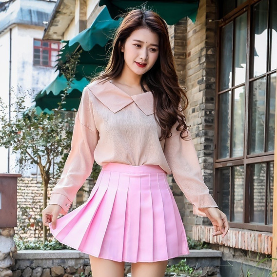 Falda Escolar Redonda Corta Falda Uniforme Japonesa Moda