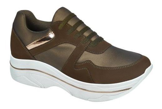 Tenis Sneakers Casuales Miniplataforma Verde Olivo 3002