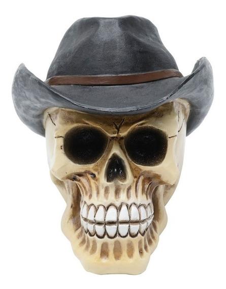 Caveira Resina Cranio Decorativa Cowboy Chapeu 13 Cm Skull