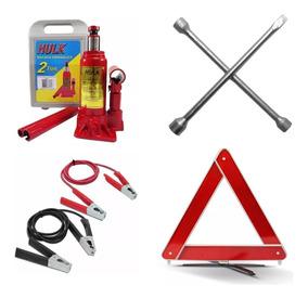 Kit Para Estepe Macaco Hidraulico 2 Ton Triangulo Chave Roda
