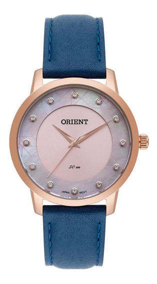Relógio Feminino Rose Orient Pulseira De Couro Com Pedras+nf