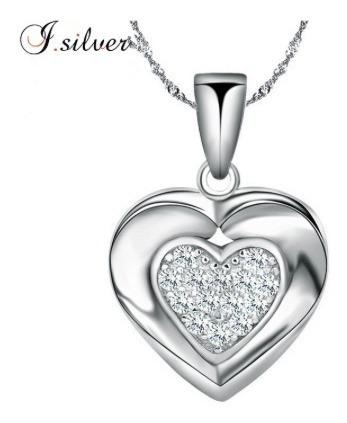 Colar Coração Prata 925 Pura Zirconia Promoção Barato Azzuli