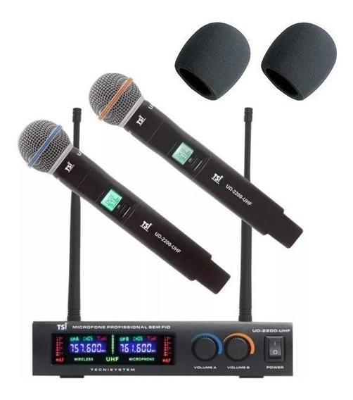 Microfone Tsi Ud2200 S/fio Duplo Mão Digital Uhf + Espumas