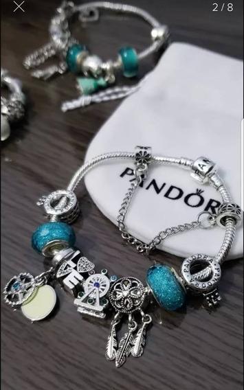 Pulseira Pandora Brilhante Muito Linda Com Berloques