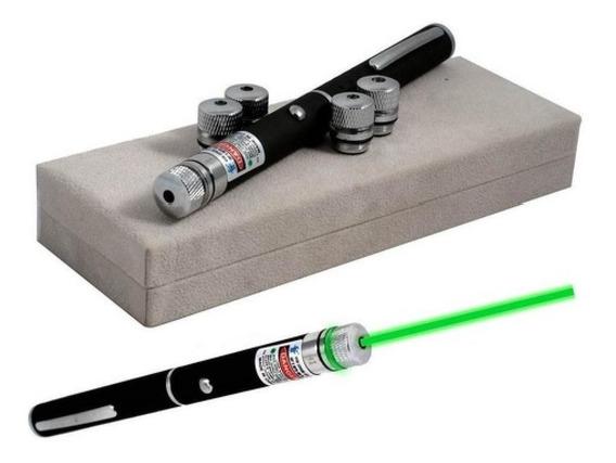 Caneta Laser Verde Pointer 5000mw Com 5 Ponteiras De Efeitos