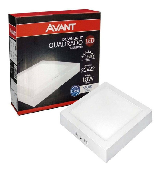 Plafon Luminaria Led 18w Sobrepor Bivolt Branco Frio 10 Pcs