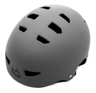 Capacete Unissex Para Skate Ou Patins Cinza Fosco Red Nose